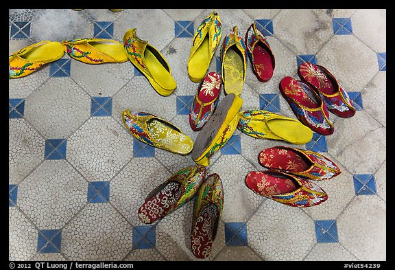 Slippers in imperial style, imperial citadel. Hue, Vietnam (color)