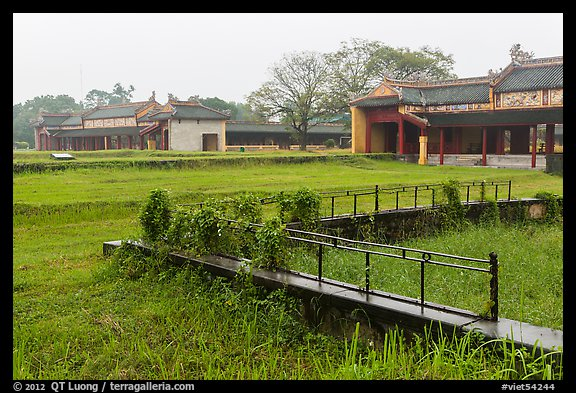 Palaces and grassy grounds, imperial citadel. Hue, Vietnam (color)