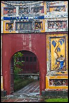 Palace gate with ceramic decorations, citadel. Hue, Vietnam (color)