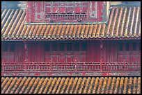 Detail of tile roof and wooden palace, citadel. Hue, Vietnam (color)