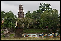 Phuoc Duyen Tower seen from river. Hue, Vietnam ( color)