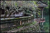 Luu Khiem Lake edge with stone fence and pavilion, Tu Duc Tomb. Hue, Vietnam (color)