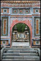 Emperor Tu Duc tomb seen through gate, Tu Duc Tomb. Hue, Vietnam (color)