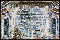 Longevity chinese character made of ceramics, Tu Duc Tomb. Hue, Vietnam (color)