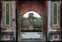 Stele Pavilion seen through the tomb gate, Tu Duc Tomb. Hue, Vietnam (color)