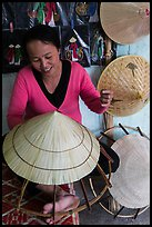 Woman crafting conical hat. Hue, Vietnam ( color)