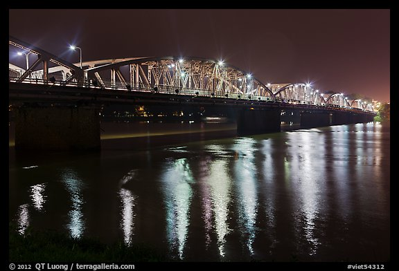 Eiffel-designed Trang Tien Bridge at night. Hue, Vietnam (color)