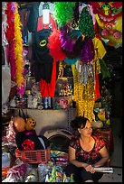 Store selling party costumes and decorations, old quarter. Hanoi, Vietnam (color)