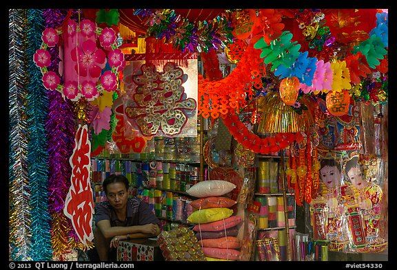 Store selling traditional party decorations, old quarter. Hanoi, Vietnam (color)