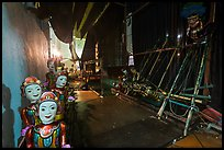 Water puppet theater backstage, Thang Long Theatre. Hanoi, Vietnam (color)