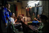 Artists backstage before water puppet performance, Thang Long Theatre. Hanoi, Vietnam (color)