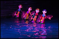 Water puppets (4 characters with fans), Thang Long Theatre. Hanoi, Vietnam ( color)