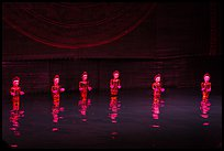 Water puppets (6 characters with lotus), Thang Long Theatre. Hanoi, Vietnam ( color)