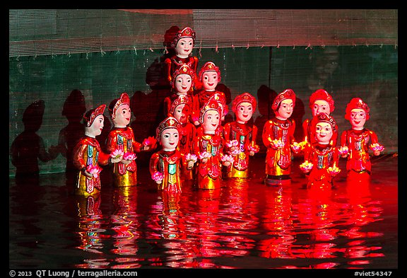 Water puppets (14 characters with lotus), Thang Long Theatre. Hanoi, Vietnam (color)