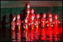 Water puppets (14 characters with lotus), Thang Long Theatre. Hanoi, Vietnam ( color)