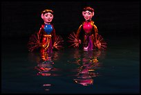 Water puppets (2 characters with fans), Thang Long Theatre. Hanoi, Vietnam ( color)