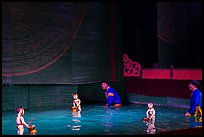 Water puppets and puppeters, Thang Long Theatre. Hanoi, Vietnam ( color)
