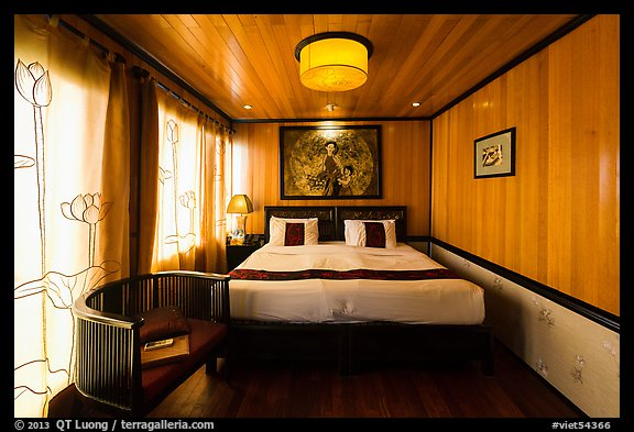 Cruise boat stateroom with curtains drawn. Halong Bay, Vietnam (color)