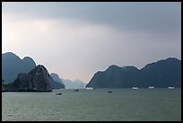Approaching rain. Halong Bay, Vietnam (color)