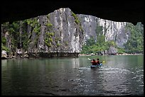 Kayaking out of Luon Cave. Halong Bay, Vietnam (color)
