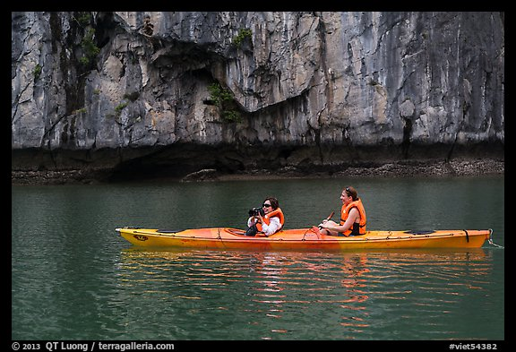 Paddlers. Halong Bay, Vietnam (color)
