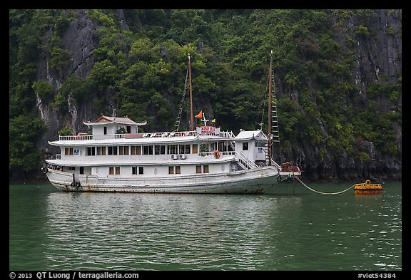 Tour boat painted white. Halong Bay, Vietnam (color)