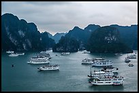 Tour boats and karstic islands from above. Halong Bay, Vietnam (color)