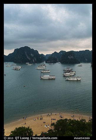 Elevated view of beach, boats and karst from Titov Island. Halong Bay, Vietnam (color)
