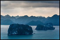 Panoramic view of islets. Halong Bay, Vietnam (color)