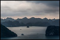Boat amongst islands under dark sky. Halong Bay, Vietnam (color)