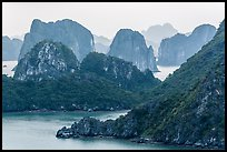 Monolithic karstic islands from above. Halong Bay, Vietnam (color)