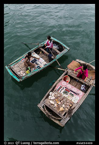 Vendors on boats seen from above. Halong Bay, Vietnam (color)