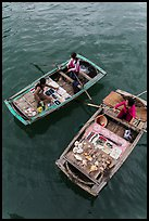 Vendors on boats seen from above. Halong Bay, Vietnam ( color)