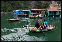 Villagers and houses, Vung Vieng fishing village. Halong Bay, Vietnam (color)