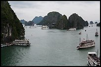 Tour boats and islands from above. Halong Bay, Vietnam (color)