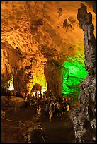 Visitors in first grotto, Surprise Cave. Halong Bay, Vietnam (color)