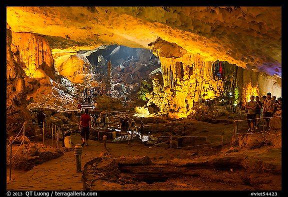 Huge underground chamber, Sung Sot Cave. Halong Bay, Vietnam (color)