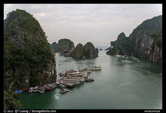 Tour boats anchored at base of island. Halong Bay, Vietnam (color)