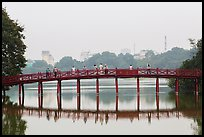 The Huc Bridge in early morning, Hoang Kiem Lake. Hanoi, Vietnam (color)
