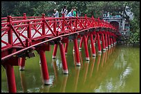 The Huc Bridge leading to Jade Island. Hanoi, Vietnam (color)