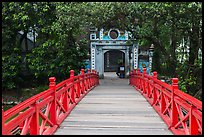 Huc Bridge leading to Ngoc Son Temple. Hanoi, Vietnam (color)