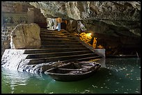 Stairs and wharf inside cave, Trang An. Ninh Binh,  Vietnam (color)