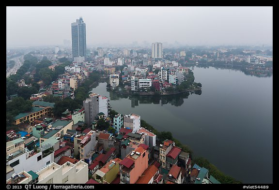 Elevated view of urban area around West Lake. Hanoi, Vietnam (color)