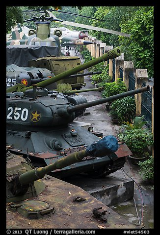 Tanks, helicopters, and warplanes, military museum. Hanoi, Vietnam (color)