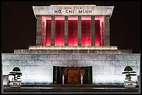 Ho Chi Minh Mausoleum lit in red. Hanoi, Vietnam (color)