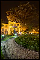 Public garden and library building at night. Hanoi, Vietnam ( color)