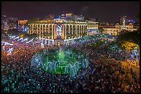 New year eve, city hall plaza with crowds. Ho Chi Minh City, Vietnam (color)