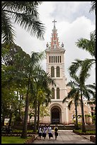 Cho Quan Church and students walking, district 5. Ho Chi Minh City, Vietnam (color)