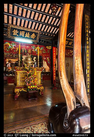 Horns and altar, Le Van Duyet temple, Binh Thanh district. Ho Chi Minh City, Vietnam (color)