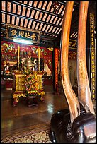 Horns and altar, Le Van Duyet temple, Binh Thanh district. Ho Chi Minh City, Vietnam ( color)